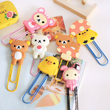 1X Fashion Cute Cartoon Animals Bookmarks Paper Note Pin Clips Student Paperclip