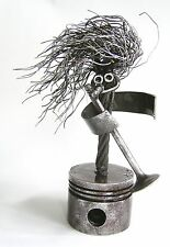 "Lead Singer Metal Sculpture ""Mike Stand"" on piston base"