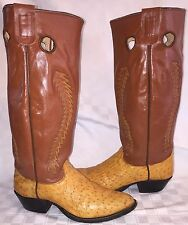 "Vintage Mens Size 9 D OLATHE Cowboy Ostrich Buckaroo 18"" Tall Stove Pipe Boots"