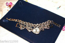 BETSEY JOHNSON WATCH HEARTS CHARM BRACELET NWOT SO PRETTY! RARE & HARD TO FIND!!