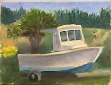 Motor Boat, Original Painting, Fishing Lobster Landscape