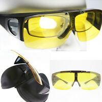 Night Driving Polarized Fit over wraparound Sunglasses Flip up Goggles Glasses