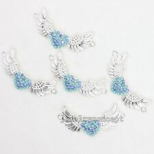 50x New Style Blue Rhinestones Alloy Wings Shape Charms Connector Pendant DIY J
