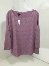 TALBOTS WOMEN'S PAISLEY/FLORAL LACE L/S TOP XL $70 NWT