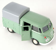 BLITZ VERSAND VW T1 Double Cabin Pick Up grün green Welly Modell Auto 1:34 NEU h