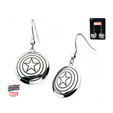 Marvel CAPTAIN AMERICA SHIELD LOGO DANGLE EARRINGS Stainless Steel NWT Cosplay