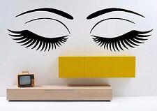 Wall Eyes Vinyl Decal Sticker Mural Beauty Salon Decor Girl Face Make Up F2402