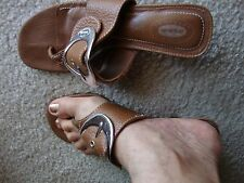 Dr.Sholls Confortable Brown Flip Flop Sandal low heel Silver Buckle