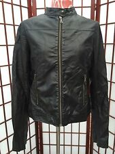 UNIQLO FAUX LEATHER JACKET FOR WOMEN MEDIUM M BLACK BIKER MOTORCYCLE JACKET