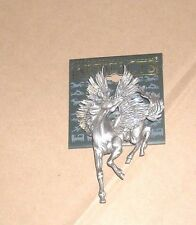 JJ Jonette Pin Brooch Pegasus Flying Horse Purple Glitter Wings Pewter