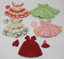 "5 vintage Hand Crochet Doll Dress & Hat Lot for 8""-10"" Bisque Hard Plastic Compo"