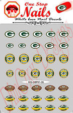 Set of 35 Green Bay Packers Vinyl Peel and Stick Nail Decals FAST SHIP. GBP01-35