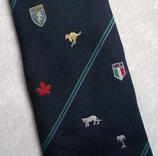 VINTAGE RUGBY TIE NAVY 1990s FRANCE AUSTRALIA NEW ZEALAND IRELAND CANADA 1990