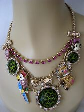 DESIGNER BETSEY JOHNSON DAY AT THE ZOO CRITTER STATEMENT NECKLACE~NWT~RARE