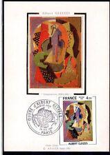 FRANCE FDC - 2137 5 TABLEAU ALBERT GLEIZES 1981 sur soie sur carte maxima
