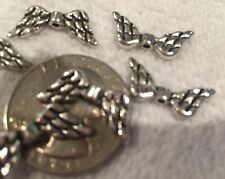 BEADS-Silvertone WING Beads / Spacers-Angel-Feathers-Eagle-Earrings-Antique X 20
