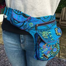 Colourful Pouch Bum Bag, Money Belt, Bright Spiral Pattern Blue Pink Purple