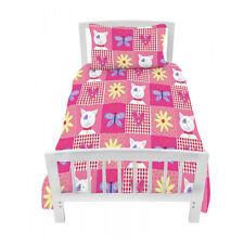 Single Bed Size Duvet Cover Set Kitty Patchwork Cat Girls & Pillowcase Childrens