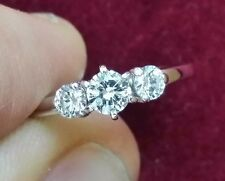 0.50 TCW 3 Stone Diamond Band Ring, 14K White Gold, Size 4.75