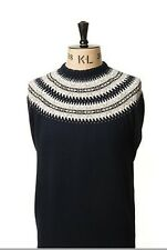 Art Gallery Clothing - Knitted CREW NECK - NAVY BLUE FAIR ISLE M Mod Sixties