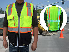 Deluxe ANSI Class 2 Safety Vests w/ Black Bottom, Reflective Trim & Large Pocket