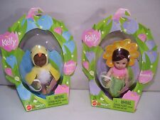 LOT OF 2 NIB BARBIE KELLY EASTER GARDEN DOLLS MELODY FLOWER TAMIKA CHICK 2002