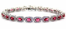 Argento Sterling Rubino E Diamante 14.86ct Bracciale Tennis (925)
