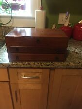 Vintage Jewelry Box Solid Wood Brass Accent