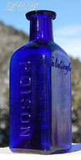 "SCARCE 5"" TALL old OWL DRUG Co larger POISON bottle COBALT BLUE color TRIANGLE"