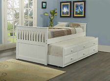 CAPTAIN'S BED W/ TRUNDLE AND 3 BUILT-IN DRAWERS - TWIN SIZE - WHITE