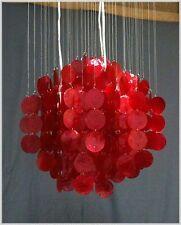 Lounge Deckenleuchte Capiz Muschel rot Retro Design Leuchte L120 cm NEU