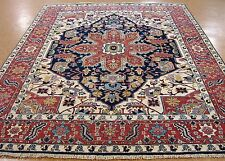 8  x 10 HERIZ Tribal Hand Knotted Wool NAVY BRICK RED NEW Oriental Rug Carpet