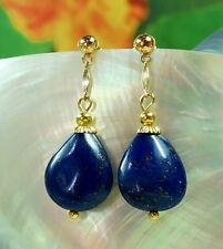 Gold Ohrringe Lapis Lazuli Edelsteine Tropfen Ohrstecker