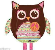 Groovy Hippie Chick Chic Calico Hoot Owl Birthday Party Celebration Balloon