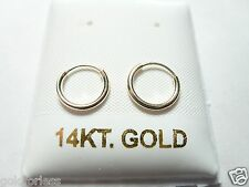 14Kt Solid Gold Thin Small 10MM Endless Hoop Earrings.....100% Guaranteed!