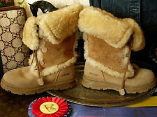 BEAUTIFUL KHOMBU Tall Suede Sheep Skin Shearling Brown Apres Ski Winter Boots