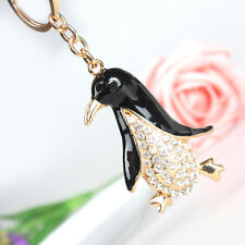 Lovely Black Penguin Pendant Charm Crystal Purse Bag Key Chain Accessories Gift