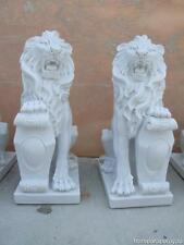 GREAT HAND CARVED HUNAN WHITE MARBLE LIONS LY1