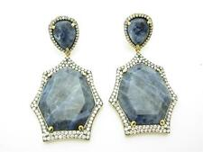YELLOW GOLD SILVER DIAMOND SET BLUE LAPIS SAPPHIRE CHANDELIER BRIDAL EARRINGS