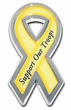 Yellow Ribbon Support Our Troops Chrome Car Auto Truck Emblem Free Shipping!