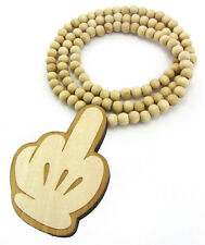 WOODEN MIDDLE FINGER PENDANT PIECE CHAIN NECKLACE GOOD WOOD FLIPPING THE BIRD