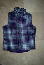 New Shades of Purple White Lime Green Plaid LANDS END Down Vest Small 6 - 8