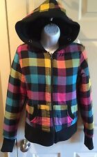 JACK BB DAKOTA Colorful Plaid Hooded Faux Fur Lined Reversable Jacket Size M