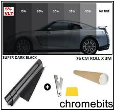 CAR VAN HOME BUS WINDOW TINT FILM TINTING SUPER DARK BLACK LIMO 5% 76cm x 3M