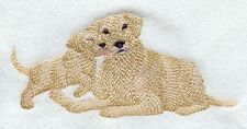 Large Embroidered Zippered Tote - Yellow Labrador Retriever and Puppy M2268