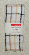 "10 WAFFLE Weave Brown Plaid Cotton Dish Cloths Rags Kitchen Towels 12"" x 12"""