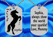 Beautiful Unicorn w Stars Dog Tag Necklace for Kids, Personalized FREE! Girls