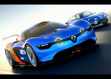 "BLUE RENAULT ALPINE NEW A4 CANVAS GICLEE ART PRINT POSTER 11.7"" x 8.3"""