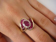 !GORGEOUS GENUINE RUBIES AND DIAMONDS COCKTAIL LADIES RING 10K YELLOW GOLD