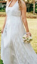 David's Bridal Plus Size Ivory Halter Lace Wedding Dress Gown NEW NWOT Size 20W